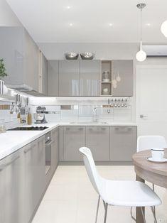 Modern Kitchen Design Modern Kitchen Cabinets Ideas to Get More Inspiration Dish Grey Kitchen Designs, Kitchen Room Design, Contemporary Kitchen Design, Kitchen Cabinet Design, Home Decor Kitchen, Interior Design Kitchen, New Kitchen, Kitchen Grey, Kitchen Ideas