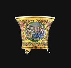 A QAJAR ENAMELLED GOLD QALIAN BOWL  IRAN, MID 19TH CENTURY Old Jewelry, Jewelry Art, Jewellery, Islamic World, Islamic Art, Qajar Dynasty, Famous Warriors, Teheran, Farah Diba