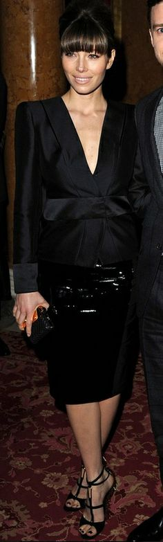 Who made Jessica Biel's black top, black skirt, wedge sandals, and clutch handbag that she wore in London on February 18, 2013? Jacket, skirt, shoes, and purse – Tom Ford
