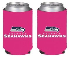 NFL Football Womens Hot Pink Can Kaddy Collapsible Koozie Holder 2Pack  Pick Team Seattle Seahawks *** Visit the image link more details.