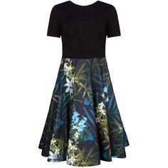 Ted Baker Caprine Twilight Floral Skirt Dress, Black ($305) ❤ liked on Polyvore featuring dresses, short sleeve maxi dress, black floor length dress, maxi dress, black knee length dress and fit & flare dress
