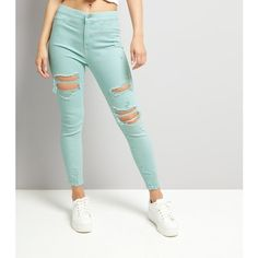New Look Mint Green High Waist Ripped Knee Skinny Hallie Jeans ($22) ❤ liked on Polyvore featuring jeans, mint green, high waisted ripped skinny jeans, skinny jeans, destroyed skinny jeans, high rise skinny jeans and distressed skinny jeans