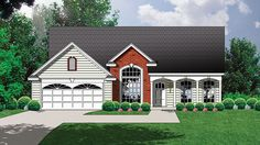 Home Plan HOMEPW21570 - 1374 Square Foot, 3 Bedroom 2 Bathroom Country Home with 2 Garage Bays | Homeplans.com
