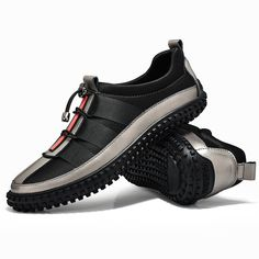 Men's Leather Splicing Stylish Bungee Closure Casual Sneakers - NewChic