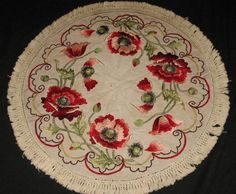 vintage tablecloth with silk embroidered poppies