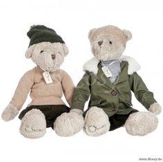 J-Line Pluchen beren jongen-meisje parka kaki beige pluche 50h Assortiment van 2 stuks