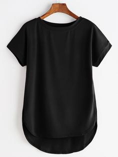 Shop High Low Curved Hem Tshirt online. SheIn offers High Low Curved Hem Tshirt & more to fit your fashionable needs.