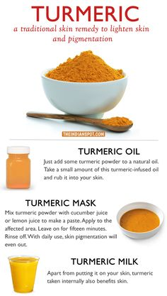 TURMERIC- A NATURAL REMEDY FOR PIGMENTATION Turmeric is a well-known beauty and health ingredient. It holds a very important place in Ayurveda due to its amazing healing properties. Turmeric is one of the powerful herbs on the planet that has t Homemade Skin Care, Diy Skin Care, Skin Care Tips, Skin Care Remedies, Natural Remedies, Organic Skin Care, Natural Skin Care, Organic Beauty, Natural Face