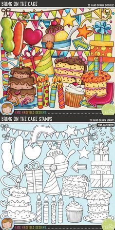 Bring On The Cake - Birthday party clip art for teachers! Contains coloured clipart and black & white outlines at 300 dpi for highest quality printing for your resources and projects! Hand-drawn clip art by Kate Hadfield Designs at Teachers Pay Teachers. Scrapbooking Digital, Digital Stamps, Scrapbooking Layouts, Scrapbook Titles, Scrapbook Journal, Couple Scrapbook, Friend Scrapbook, Birthday Clips, Birthday Parties