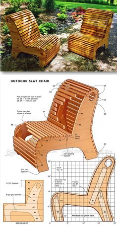 Outdoor Slat Chair Plans - Outdoor Furniture Plans & Projects on Home Inteior Ideas 587 Backyard Projects, Diy Wood Projects, Furniture Projects, Diy Furniture, Garden Furniture, Woodworking Projects That Sell, Woodworking Furniture, Woodworking Tips, Woodworking School