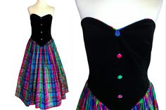 Ball Dresses, Ball Gowns, Prom Dresses, Tartan Dress, Tartan Plaid, Strapless Corset, Circle Dress, Silk Taffeta, Silk Skirt