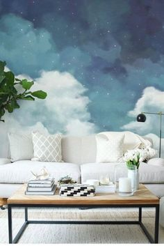 Fantastic starry sky wallpaper removable clouds wall mural for home hallway bedroom nursery kids wall paper self-adhesive fabric fantastische sternenhimmel … Bedroom Murals, Wall Murals, Bedroom Decor, Wall Decor, Murals For Walls, Bedroom Ideas, Wall Colors For Bedroom, Hotel Ceiling, Home Office Bedroom