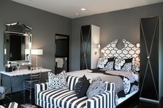 black, white, and gray bedroom.