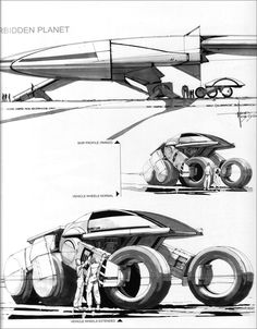 Syd Mead - Forbidden Planet vehicle concept - pen and marker on paper