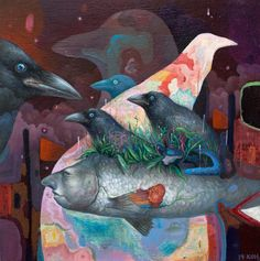 'The Sanctuary' by Kisung Koh. Find out more about Koh and see more of his wonderful art in his interview at wowxwow.com. (animals, dreams, memories, nature, spiritual, surreal, surrealism, narrative, story, symbolism, wildlife, new contemporary art)