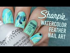 Sharpie Marble Feather Water Decal Nail Art || TWI_STAR - YouTube