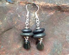 Lake Superior zen basalt stone rock dangle earrings, silver and black earrings on Etsy, $23.00