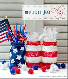 Red, White, and Blue Jars. Paint glass jars with acrylic paint. Stripes are made by taping off supplemental color with Washi tape because blue painter's tape pulls off the paint. Stars are stamped on with foam shapes. I think I would put a red and white strip on the bottom half of the blue bottle with stars.