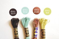 color theme dmc embroidry sewing needlepoint colors - floss color combos by WildOlive Dmc Embroidery Floss, Ribbon Embroidery, Cross Stitch Embroidery, Embroidery Patterns, Thread Bracelets, Diy Bracelets Easy, Cross Stitch Floss, Cross Stitch Patterns, Yarn Color Combinations