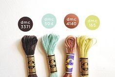 {Riverbed} DMC Floss Color Combination 3371: Black Brown; 504: Very Light Blue Green; 4140: Driftwood; 165: Very Light Moss Green