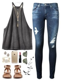 #spring #outfits / tank top + ripped jeans