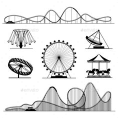 Amusement Ride or Luna Park Roller Coasters - Man-made Objects Objects