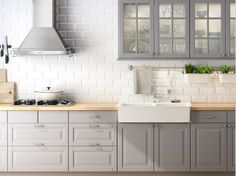 Grey Kitchen Cabinets, White Backsplash !! Absolutely love !! But darker butcher block !