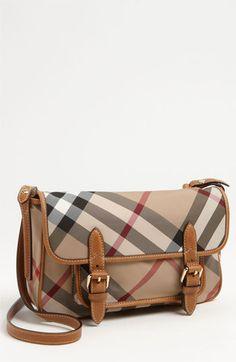81954a018c38 Burberry  Liv  Check Print Crossbody Bag (Girls) Saddle Brown One Size