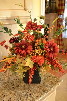 Rich colorful Fall Harvest Arrangement by kristenscreations Church Flower Arrangements, Fall Floral Arrangements, Flower Centerpieces, Tall Centerpiece, Centerpiece Wedding, Grave Flowers, Cemetery Flowers, Thanksgiving Flowers, Autumn Decorating