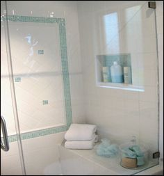 Small Spa-Like Bathrooms | shower niche to hold shampoos etc