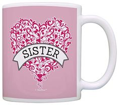 Sister Pink Ribbon Love Heart Breast Cancer Support Survivor Gift Coffee Mug Tea Cup Pink >>> You can get additional details at the image link.