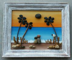 "Pebble Art / Rock Art Couple on the beach with palm trees set on a hand painted background in a 8.5x11  ""open"" frame (FREE SHIPPING)"
