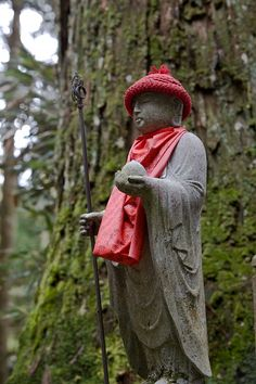 Jizo Bosatsu in Japan, also known in Sanskrit as Ksitigarbha Bodhisattva.    That is one groovy hat.