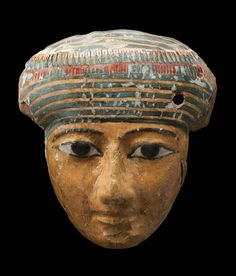 Painted wooden face from mummiform coffin. Third Intermediate Period to early Late Period. 1070–660 B.C. | Museum of Fine Arts, Boston