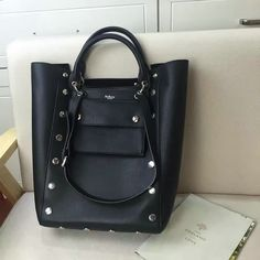 2016 Fall/Winter Mulberry Maple Tote Black Smooth Calf with Studs