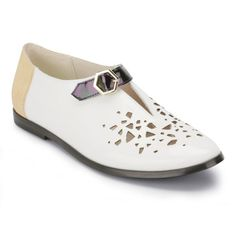 NEW KID WOMEN'S ELMA SUAVE LASER CUT LEATHER SHOES - WHITE