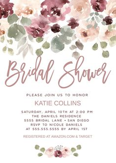 Dusty Rose Bridal Shower Ideas, Dusty Rose Invitations, Dusty Pink, Mauve Bridal Shower Wedding, Edit & Print Today! xx