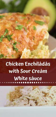 Chicken Enchiladas with Sour Cream White sauce - Dewi Sagita Easy Chicken Recipes, Turkey Recipes, Mexican Food Recipes, Healthy Stuffed Chicken, Turkey Food, Sour Cream Sauce, Chinese Chicken, Chicken Enchiladas, Broccoli