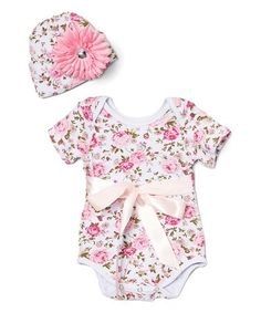 This Pink & White Floral Bow Bodysuit & Beanie - Infant is perfect! #zulilyfinds