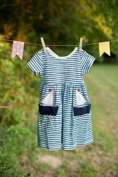 Sailor's Sidekick Vintage 2Toddler Girls Nautical Striped Dress. $22.50, via Etsy.