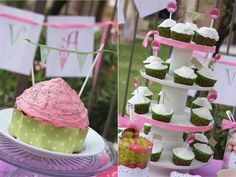 banner for cake- could do initials, cupcake tower idea