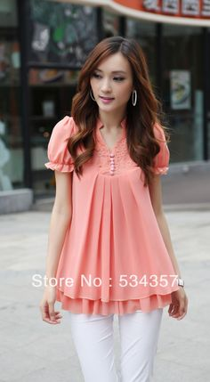 Free Shipping chiffon blouse dresses short fat women ,Maternity chiffon blouse, Chiffon Fashion Pregnant Clothes shirts