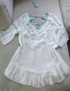 7548953e32bdbb MISS KOO Ibiza Tunika/ Kleid weiss bunt ,Häkelspitze Quasten Gr.38-42