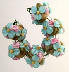 BLISS Turquoise Wild Blossom and Rosebuds Lampwork Bead Set