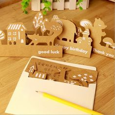 Animal Kraft paper Vintage Hollow style Greeting card set with envelope set / bookmark/ New year gift cards