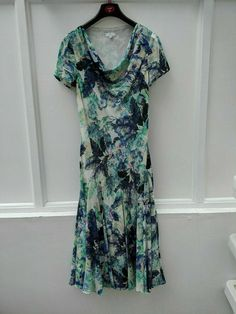CC Petite Dress Long Mermaid Cowl Neck White Blue Palm Print Size 10 (523) #CC #Mermaid