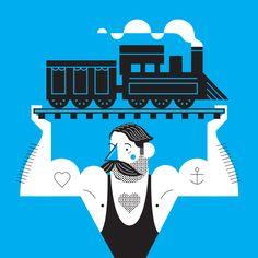 strong man lifting a train