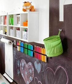 Kids playroom is often fused with kids room to ease parents to supervise their kids. Therefore you need to kids playroom decor appropriate to the age their growth Blackboard Wall, Chalkboard Paint, Chalk Wall, Chalk Board, Chalk Paint, Chalkboard Ideas, Large Chalkboard, Kitchen Blackboard, Spray Chalk