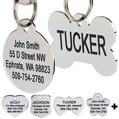 GoTags Stainless Steel Pet ID Tags, Personalized Dog Tags and Cat Tags, up to 8 – Health Skin Care Cat Tags, Dog Id Tags, Popular Male Dog Names, Personalized Dog Tags, Shops, Pet Id, Cat Collars, Pet Store, Pet Supplies