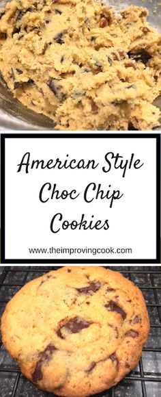 American style choc chip cookies- soft chewy chocolate chip cookies. A very easy recipe for baking with children. #chocolate #chocolatechip #chocolatechipcookies #cookies